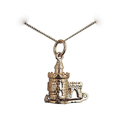 9ct Gold 15x14mm moveable The Bloody Tower Pendant with a curb Chain 16 inches Only Suitable for Children