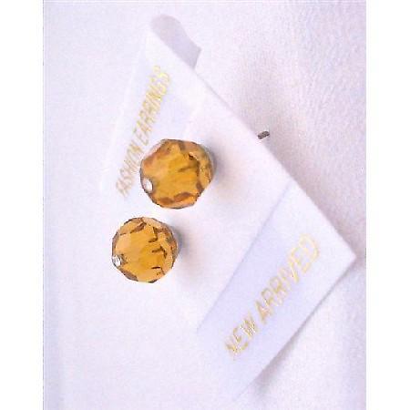 Stud Earrings Swarovski Topaz Earrings Jewelry