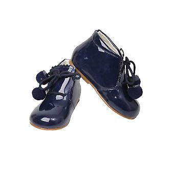 Baby Girls Pom Pom Wedding Party Patent Formal Navy Shoes