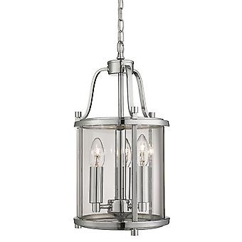 Victorian Lanterns Chrome And Glass Three Light Pendant - Searchlight 3063-3CC