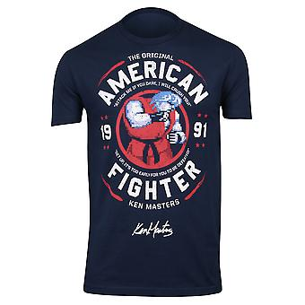 Capcom Mens Street Fighter Ken OG American Fighter T-Shirt - Dark Navy