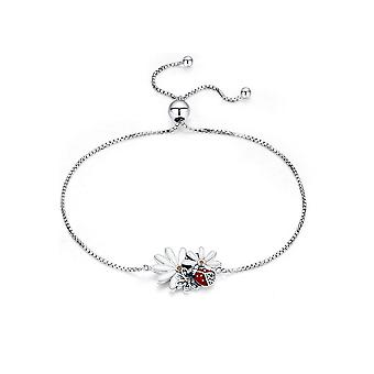 Female Ladybug and flower bracelet in Silver 925 and email