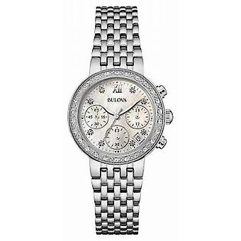 Bulova Womens Stainless Steel Diamond Set Chrono 96W204 Watch