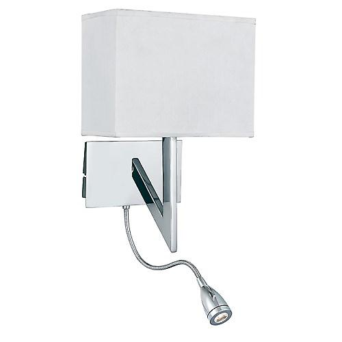 Searchlight 3299CC Bedside Reading Wall Light With White Shade And Led Flexi Arm