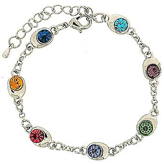 TOC Silvertone Multicoloured Rhinestone Links Bracelet 7