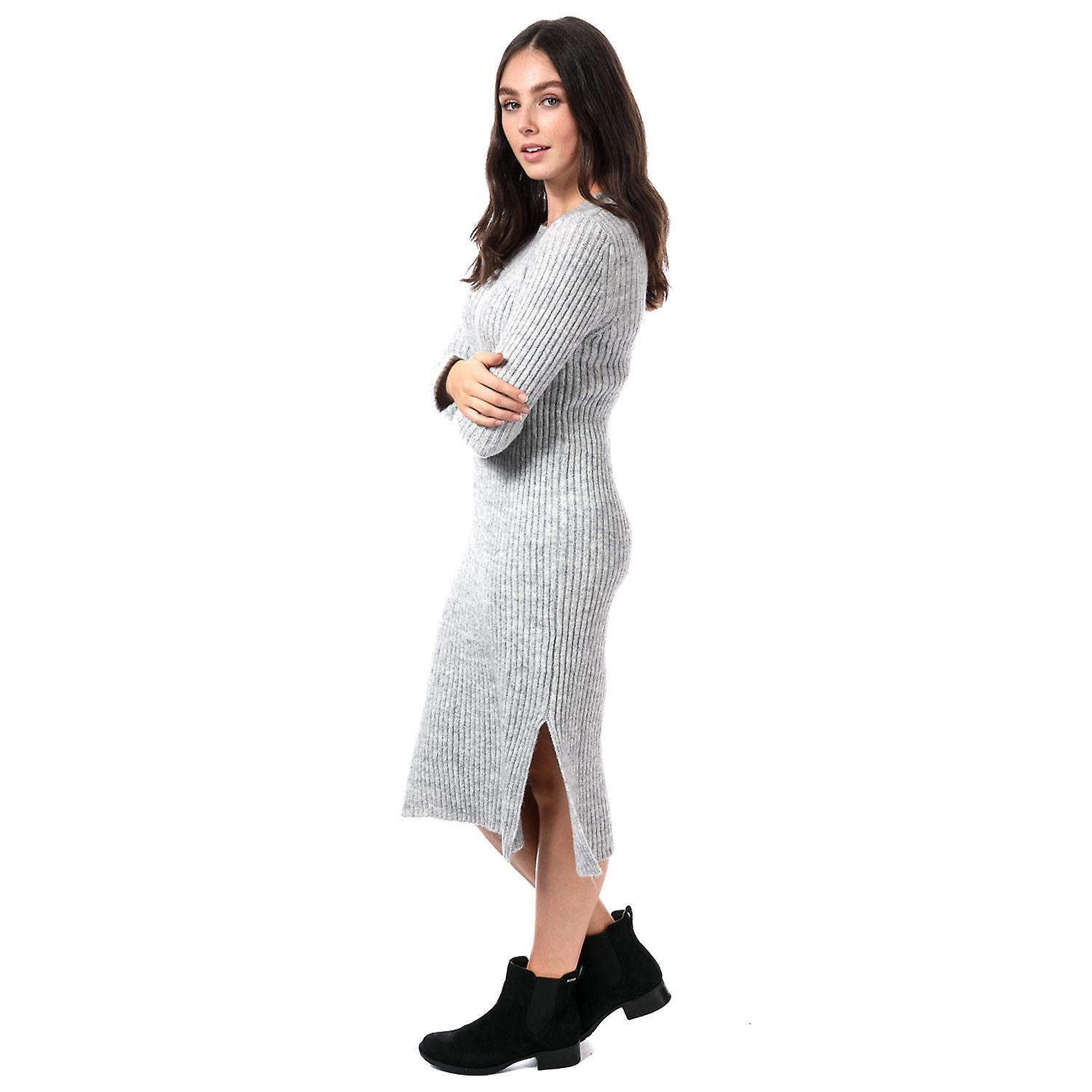 Womens Vero Moda Rozina Long Sleeve Jumper Dress In Light Grey Melange