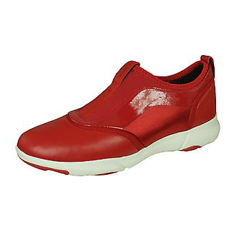 Geox D Nebula S Womens Nappa Leather Slip On Trainers - Red