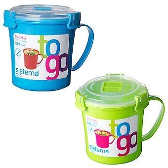 Sistema Set of 2 Soup Mugs, Blue and Lime