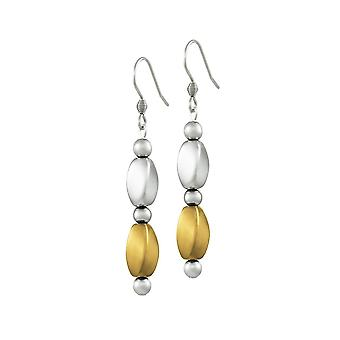 Eternal Collection Visage Silver And Gold Hematite Drop Pierced Earrings