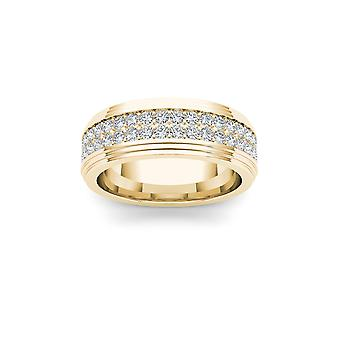 IGI certifierade Solid 14k gult guld 1.150 Ct Diamond mäns bröllop Band Ring