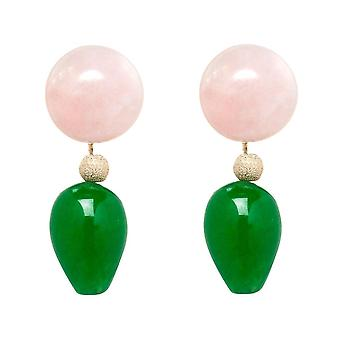 Gemshine Earrings Rose Quartz and Green Jade Gemstone Drops - Gold plated