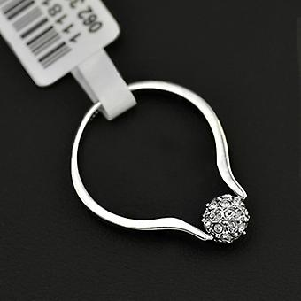 18K White Gold Plated Paved Ball Engagement Ring