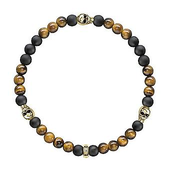 Thomas Sabo A1507-881 Women's bracelet - gold-plated - with tiger eye stones and golden skull - Gold plaque - color: gold - cod. A1507-881-2-L20