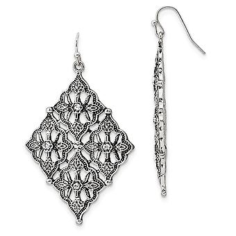 Silver-tone Shepherd hook Clear Crystal Diamond Shaped Dangle Earrings