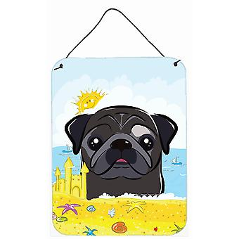 Black Pug Summer Beach Wall or Door Hanging Prints BB2131DS1216
