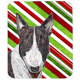 Bull Terrier Candy Cane Christmas Glass Cutting Board Large