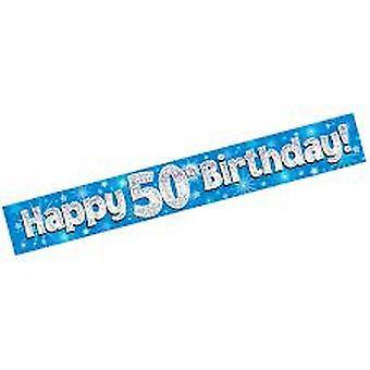 50th Blue Birthday Foil Banner Holographic Sparkle Party Decorations