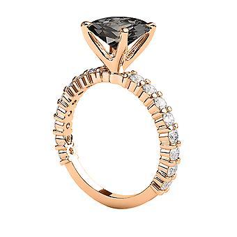 3.90 CTW Black Diamond Ring 14K Rose Gold Princess Cut Solitaire With Accents Unique