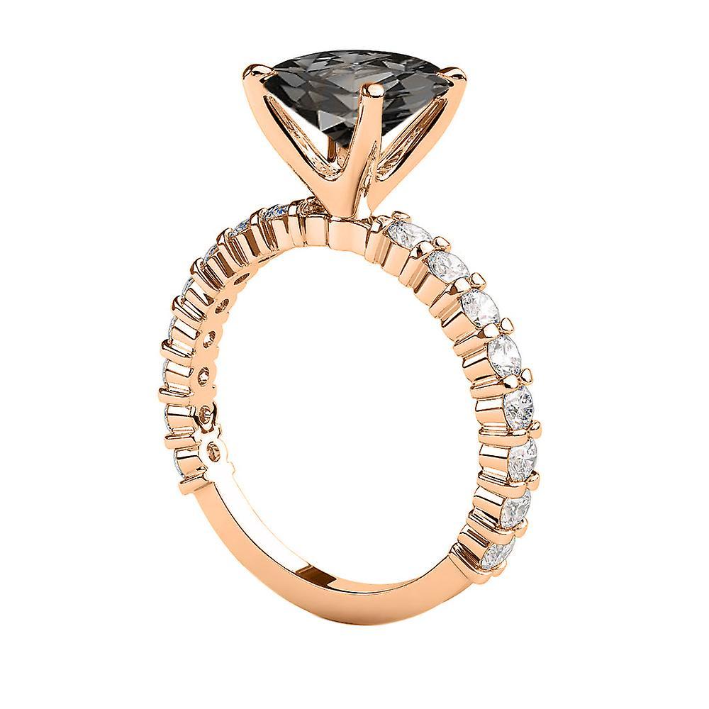 1.90 CTW 14K Rose Gold Black Diamond Ring with Diamonds Princess Cut Unique