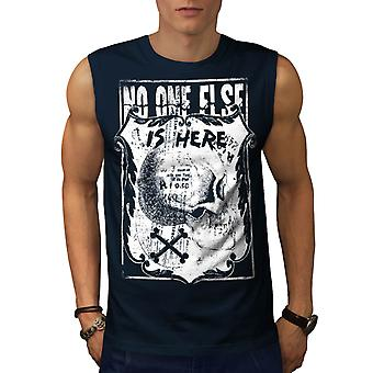 Monster Skull Grave Yard Here Men Navy Sleeveless T-shirt | Wellcoda