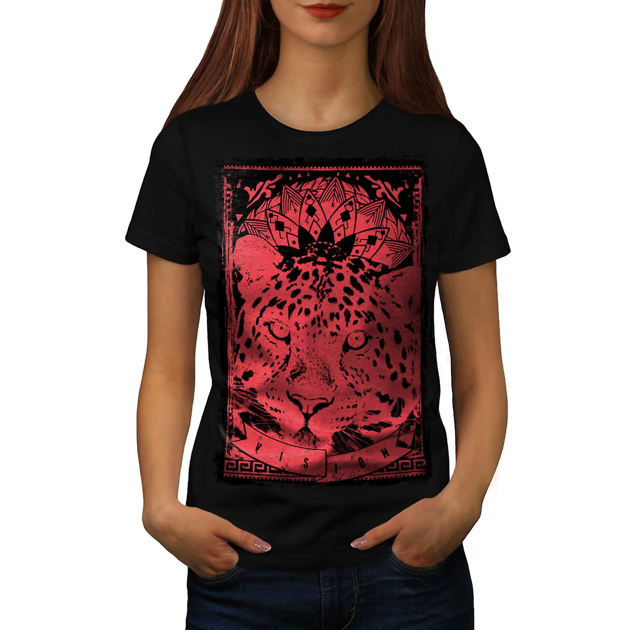 Leopard Cat Vision Angry Animal Women Black T-shirt | Wellcoda