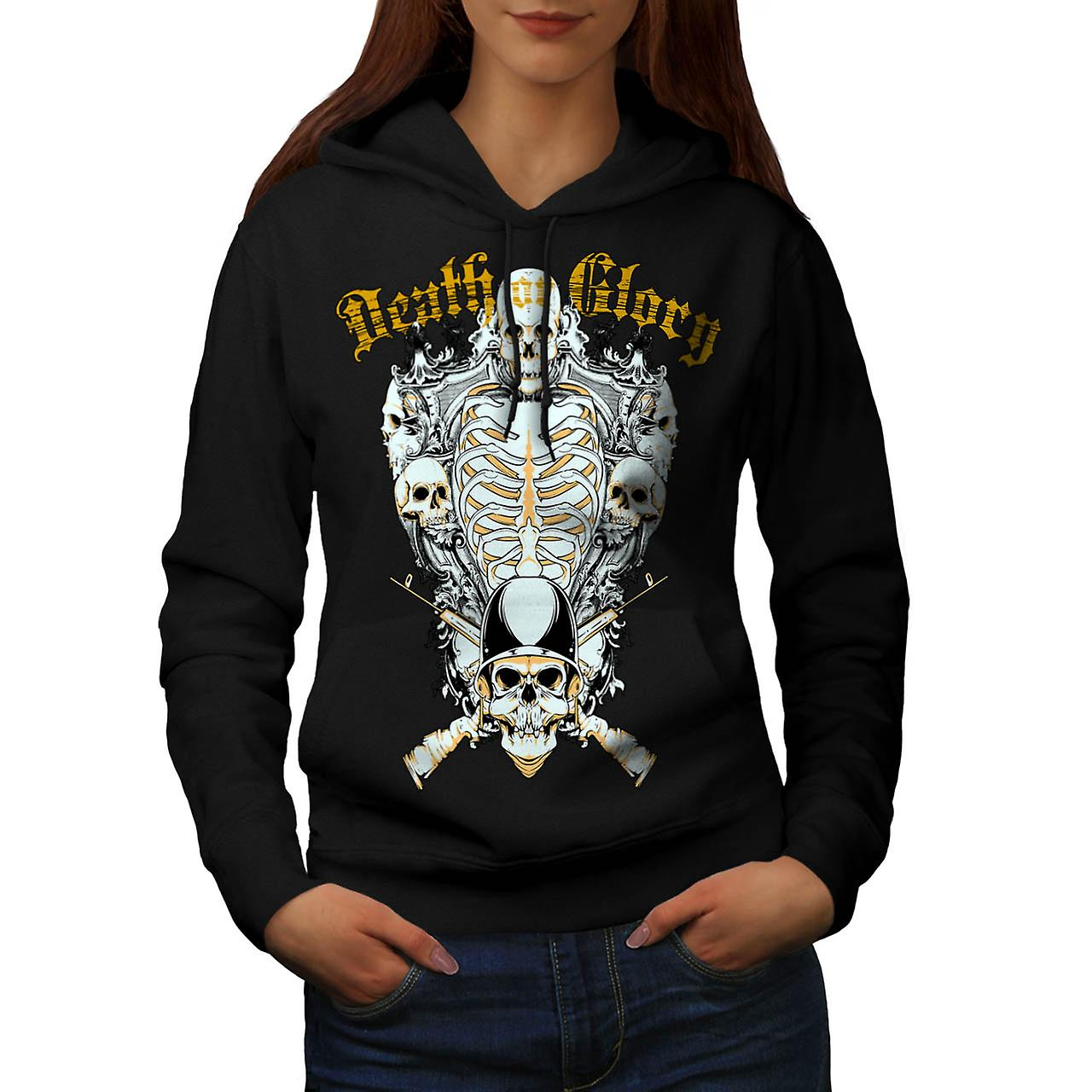 Death Glory Guns Skull Women Black Hoodie | Wellcoda
