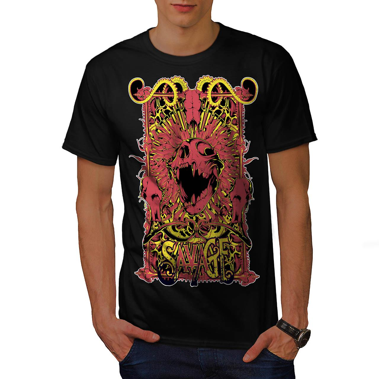 Savage Monster Death Hell Devil Men Black T-shirt | Wellcoda