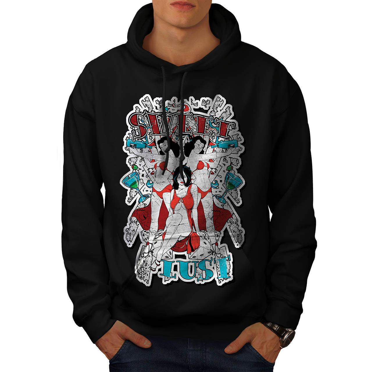 Sweet Lust Casino Bet Seduction Men Black Hoodie | Wellcoda