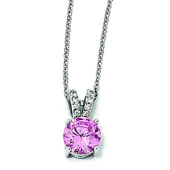 Sterling Silver Pink and White CZ Necklace - 18 Inch