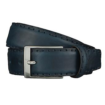 OTTO KERN belts men's belts leather belt Navy/Blue 4498