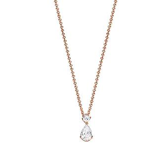 ESPRIT women's chain necklace silver Rosé Zirkonia Drop solitaire ESNL92992B420
