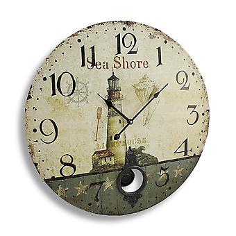Antique Finish Seashore Lighthouse Wall Clock with Pendulum 23 In.