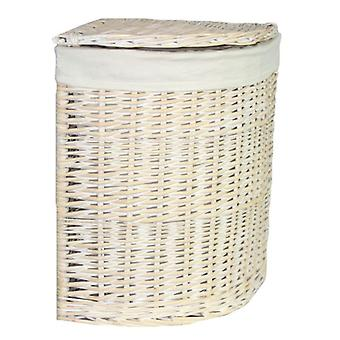 Small Corner White Wash Laundry Basket with a White Lining