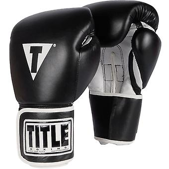 Title Boxing Pro Style Leather Hook and Loop Training Gloves - Black/White