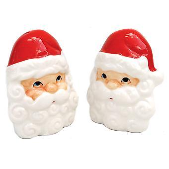 Jolly Santa ansigt Christmas Holiday Salt og peber Shaker sæt keramiske