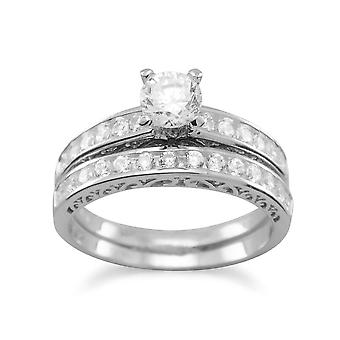 Rhod. P. Sterling Silber Doppel-Ring Ehering Set Cubic Zirkonias - Ringgröße: 4-10