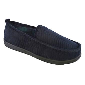 SlumberzzZ Mens Cord Rib Style & Plaid Fleece Lined Classic Slip On Slippers