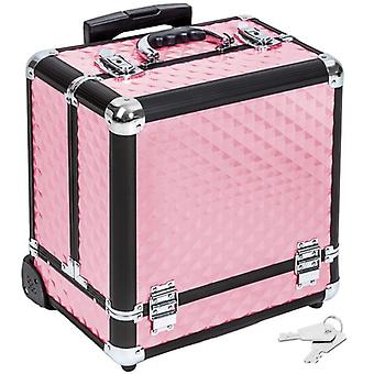 Malette trolley valise esthétique coiffure maquillage pro rose 2008057