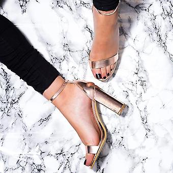 Spylovebuy SASS Open Peep Toe Block Heel Sandals Shoes - Gold Leather Style