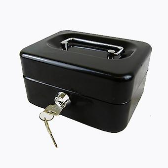 Hyfive® Steel Security Petty Cash Box with Keys & Tray in Black, 6