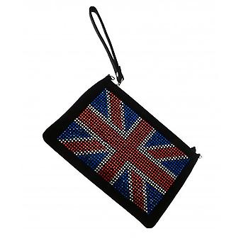 W.A.T Sparkling Crystal Union Jack Black Clutch Bag