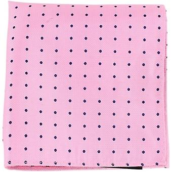 Knightsbridge Neckwear Pin Dot Silk Pocket Square - Pink/Navy