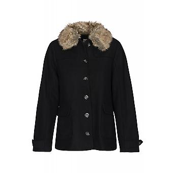 Lee Short Wool jacket ladies winter coat black fluffy collar