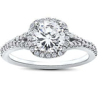1 7/8ct Diamond Engagement Ring Cushion Halo 14K White Gold