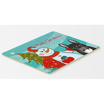 Snowman with French Bulldog Kitchen or Bath Mat 20x30