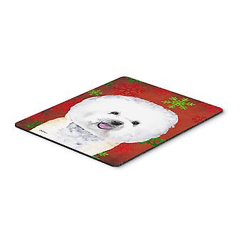 Bichon Frise Red and Green Snowflakes Christmas Mouse Pad, Hot Pad or Trivet