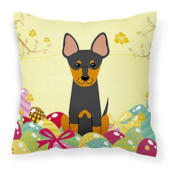 Easter Eggs English Toy Terrier Fabric Decorative Pillow