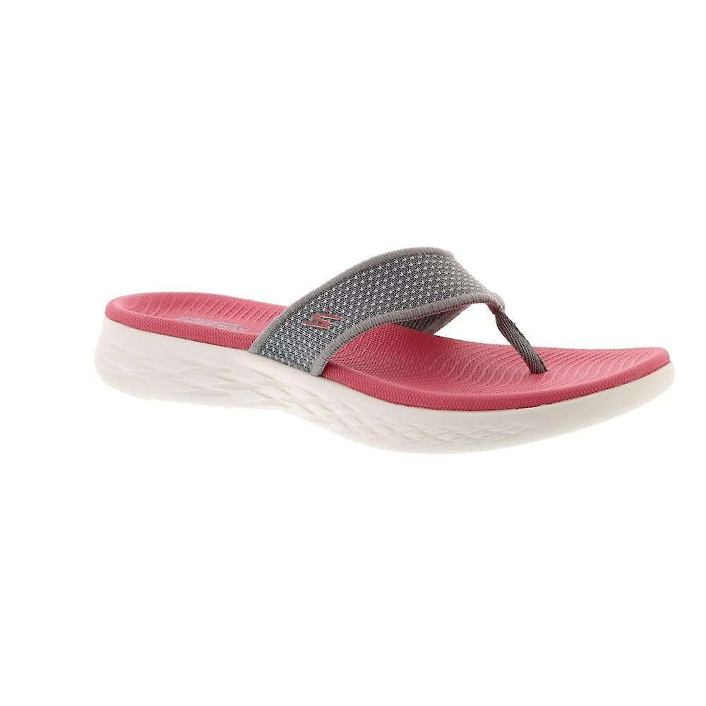 Skechers 15300 On-The-Go 600 - Grey/Pink (Textile) Womens Sandals