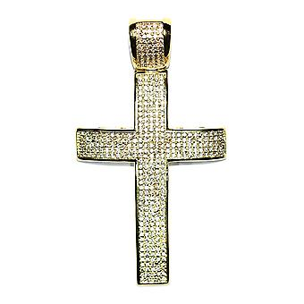 18k Gold Plated CZ Cross Pendant 2 inches with Flat Franco Chain 30 inches