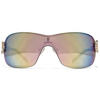 Guess Diamante Chain Visor Sunglasses In Shiny Rose Gold